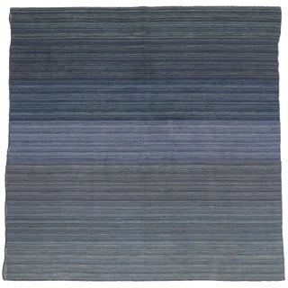 Contemporary Modern Flat-Weave Rug, Ombre Kilim With Pastel Postmodern Style, 7x7'1 For Sale