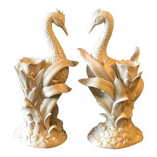 Vintage Fitz and Floyd Ceramic Heron and Palm Leaf Candle Holder-Pair For Sale