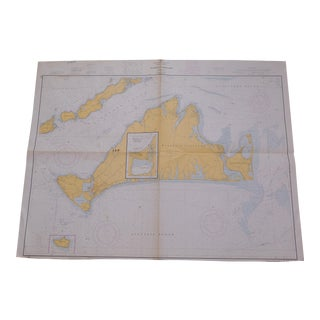 Nautical Map of Martha's Vineyard, Unframed For Sale