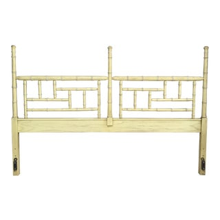 Vintage Hollywood Regency Dixie Shangri La Faux Bamboo King Headboard For Sale