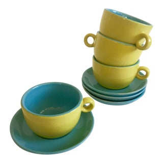 Retro Cappuccino Cups & Saucers - Set of 8
