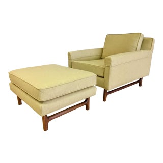 1960s Vintage Teak Lounge Chair & Ottoman For Sale