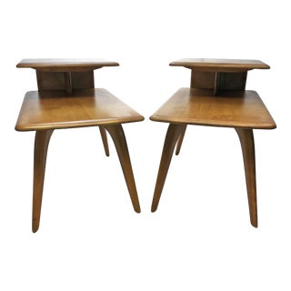 Mid Century Modern Heywood Wakefield Wood Side Tables - A Pair