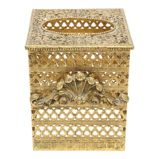 Vintage Gold Brass Hollywood Regency Filigree Tissue Box Holder Cover For Sale
