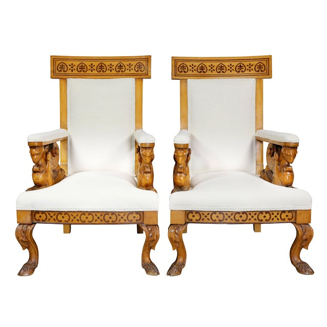 Mid 19th Century Pair of Italian Neoclassical Maple Armchairs Attributed Pelagio Palagi For Sale - Image 5 of 11