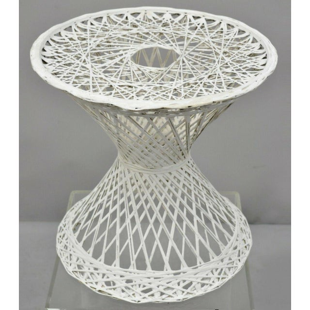 """Vintage Russell Woodard Spun Fiberglass Woven 18"""" Accent Side Table For Sale - Image 9 of 9"""