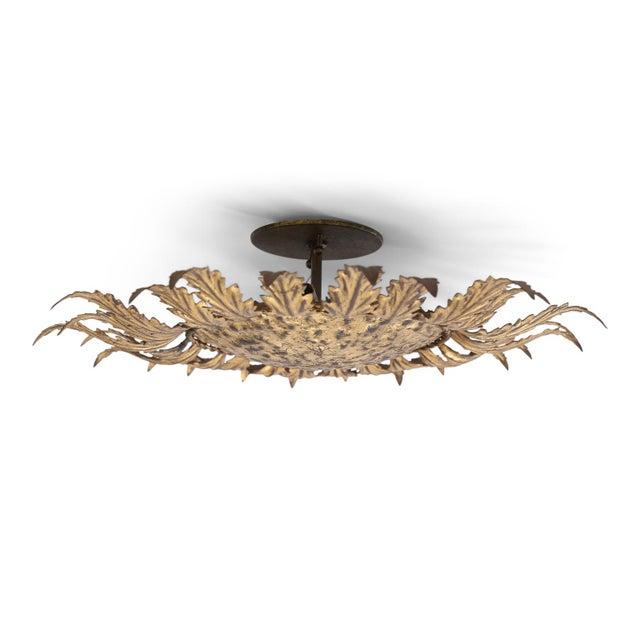 Gilt Tole Flush Mount Light For Sale - Image 9 of 11