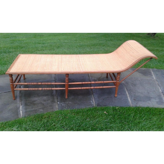 Vintage Caribbean Wood-Frame Woven Chaise Lounge For Sale - Image 13 of 13