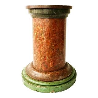 Antique Painted Faux Marble Pedestal