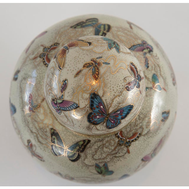Japanese Satsuma Butterfly Ginger Jar on Stand For Sale - Image 7 of 11