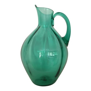 1950s Winslow Anderson for Blenko Optic Panel Hand Blown Pitcher Vase in Sea Green For Sale