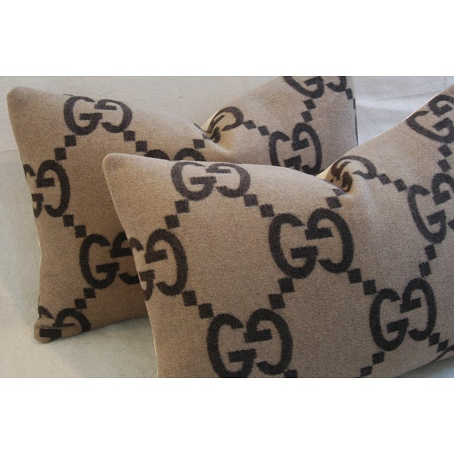 """Early 21st Century 23"""" X 16"""" Custom Tailored Gucci Cashmere & Velvet Feather/Down Pillows - Pair For Sale - Image 5 of 11"""