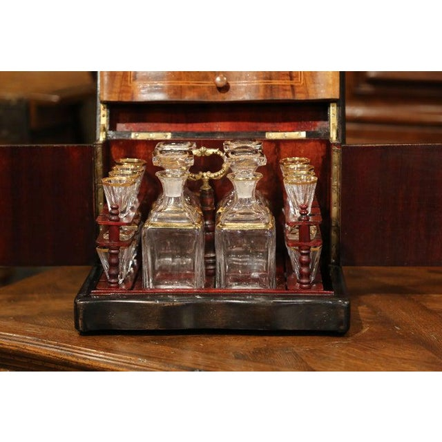 Wood 19th Century French Napoleon III Walnut Cave a Liqueur With Inlay Marquetry For Sale - Image 7 of 12