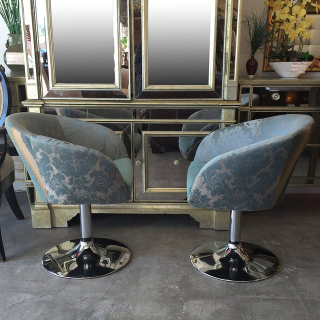 Vintage Custom Teal Swivel Chairs - A Pair - Image 10 of 11