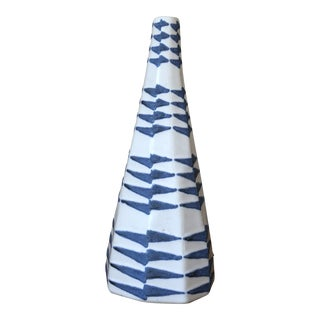 West Elm Blue & White Ceramic Vase