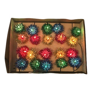 Multicolored Tinsel Lights Orig Box S/12 For Sale