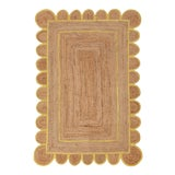 Image of 2'x3' Yellow Trim Jute Scallop Braided Hand Made Bohemian Rug For Sale