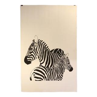 Vintage Zebra Silk Screen Print by Lurelle Cheverie For Sale