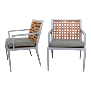 Pair of Aluminum and Teak Archetype Patio Chairs by Michael Vanderbyl for McGuire For Sale