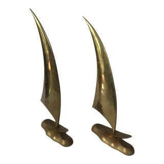 Mid 20th Century Large Brass Sailboat Sculptures - a Pair For Sale