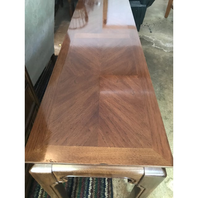 American Classical Mid-Century Inlay Wood Sofa Table For Sale - Image 3 of 5