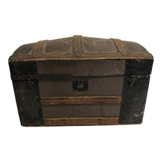 Antique Wood Industrial Camelback Steamer Trunk For Sale