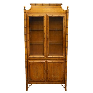 20th Century Asian Dixie Furniture Faux Bamboo Display China Cabinet For Sale