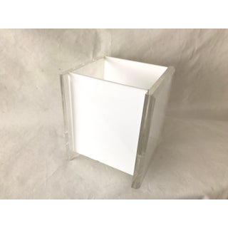 Vintage George Bullio Style Lucite Acrylic Waste Basket in White Preview
