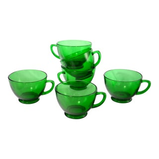 1960s Emerald Green Glass Cups - Set of 6 For Sale