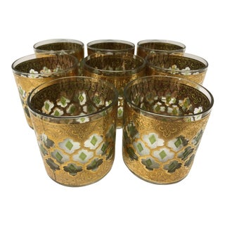 Mid-Century Gold Leaf Low Ball Cocktail Glasses - Set of 8
