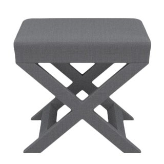 X Bench in Grey Linen For Sale