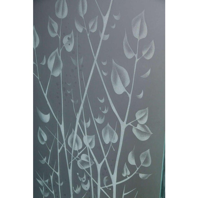 Four-Panel Etched Glass Screen For Sale - Image 9 of 10
