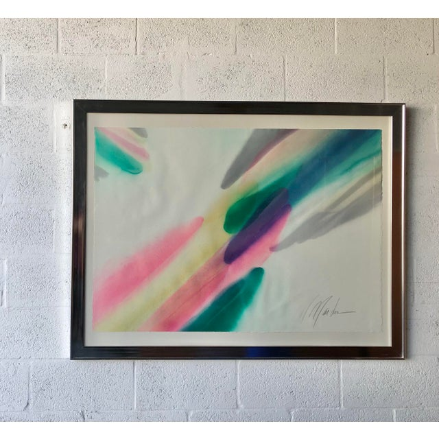 Mid-Century Modern Vintage Mid Century Modern Framed Abstract Washed Acrylic Signed by the Artist. For Sale - Image 3 of 13