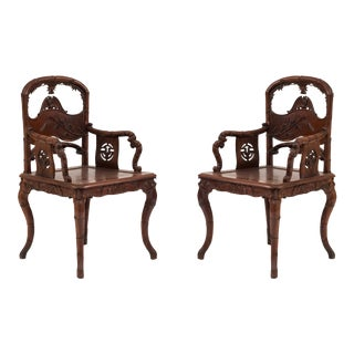 Pair of English Regency Style Rosewood Faux Bamboo Armchairs For Sale