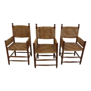 Vintage Boho Rattan and Wood Chairs - Set of 3 For Sale