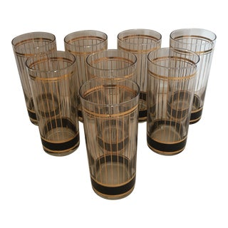 Set of Eight Mid-Century Gold Pinstripe Glasses by Culver, Usa For Sale