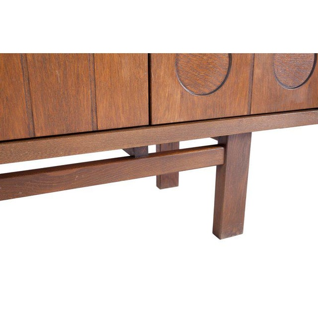 Brown Midcentury Belgian Brutalist Oak Cabinet For Sale - Image 8 of 9