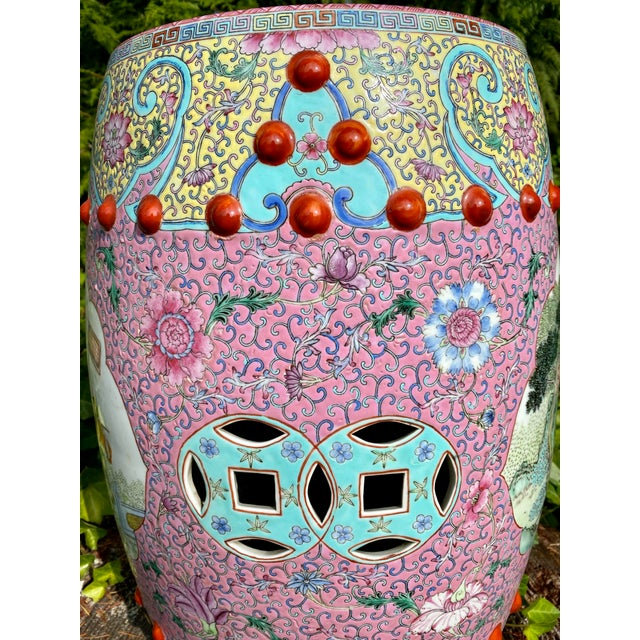 Vintage Mid-Century Chinese Famille Rose Porcelain Garden Seat For Sale - Image 9 of 13