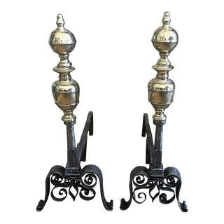 Andirons with Brass Adornment - A Pair For Sale