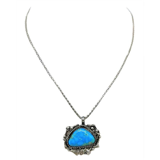 Sterling and Turquoise Pendant Necklace For Sale - Image 4 of 4