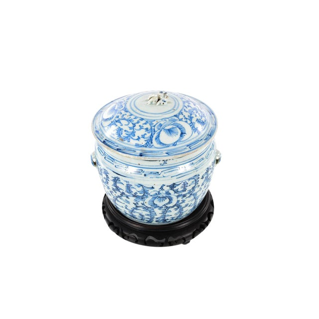 """Chinese 19th century Blue & White Porcelain Ginger Jar w/Stand size 8 x 9"""""""