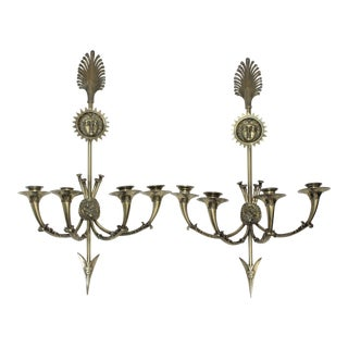 "European Tour 19 C Neoclassical Bronze 25"" Inch 4-Candle Sconces - a Pair For Sale"