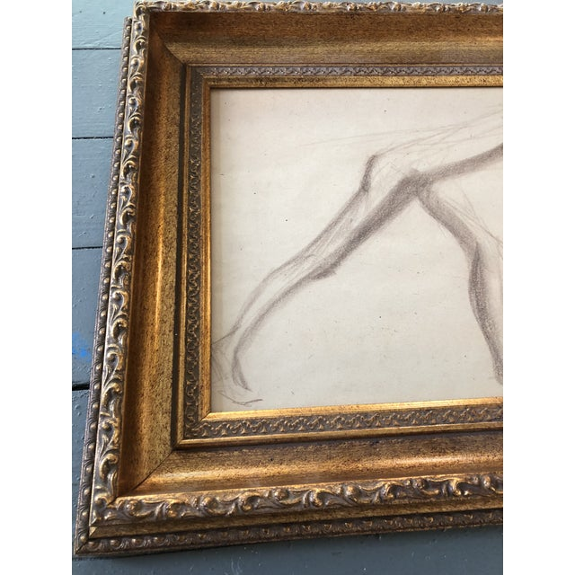 Original Sepia Drawing on paper Unsigned 10 x 12 Overall size with vintage frame is 14 x 17