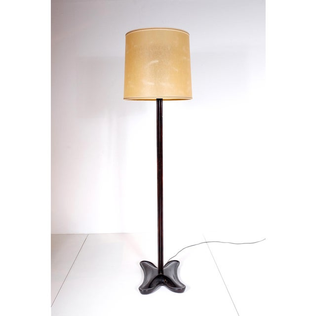 Fine Floor lamp Italy in blackened pear , mirror and brass 1940   DECASO