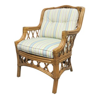 Late 20th Century Lane Venture Rattan Lounge Chair For Sale