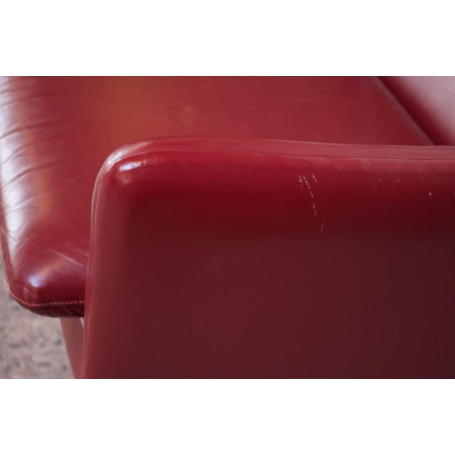 Danish Modern Cranberry Leather Settee by Hans Olsen For Sale - Image 9 of 13