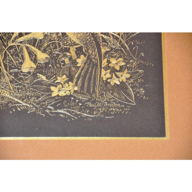 1970s Paul M. Breeden Hummingbirds Drinking Nectar Gold Foil Etching For Sale - Image 5 of 6