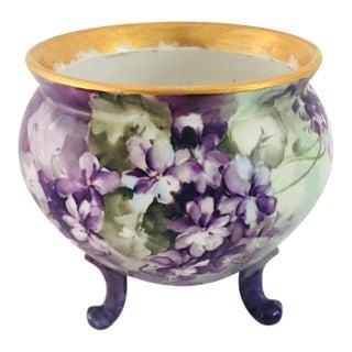 Vintage Hand Painted Porcelain Footed Vase / Bowl For Sale