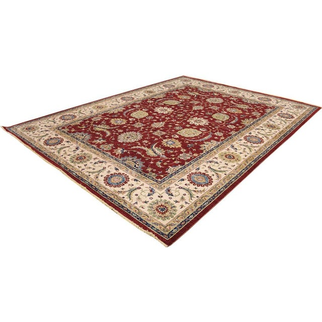 Textile Kafkaz Peshawar Rubin Red & Ivory Wool Rug - 9'0 X 11'10 For Sale - Image 7 of 7