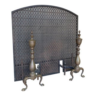 Antique Firescreen and Andirons - 3 Pieces For Sale